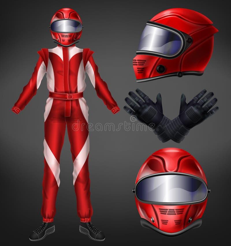 Vecteur réaliste automatique de tenue de protection de pilote de course illustration stock