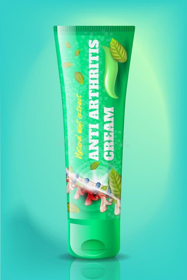 Vecteur réaliste d'anti d'arthrite tube naturel de crème illustration libre de droits
