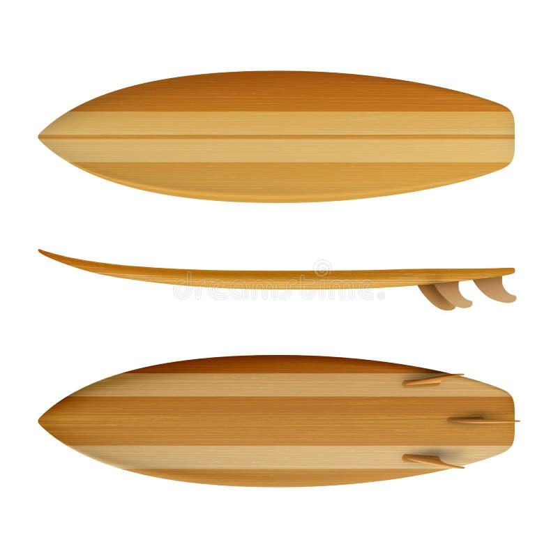 Vecteur réaliste d'isolement en bois de planche de surf illustration libre de droits