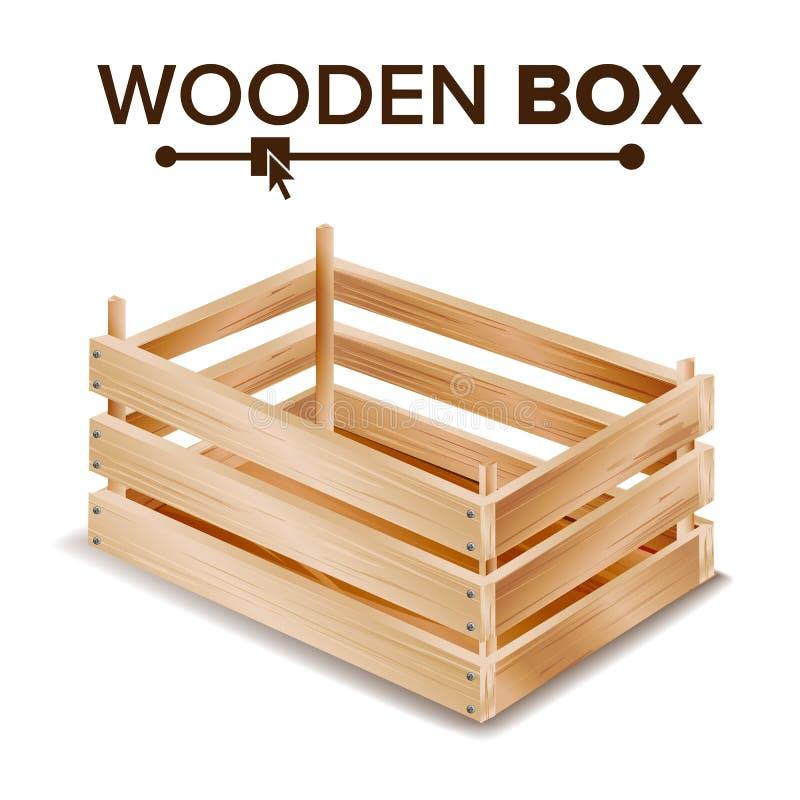 Vecteur réaliste de boîte en bois Boîte pour des produits de transport et de stockage Boîte vide pour la conservation de fruits e illustration stock