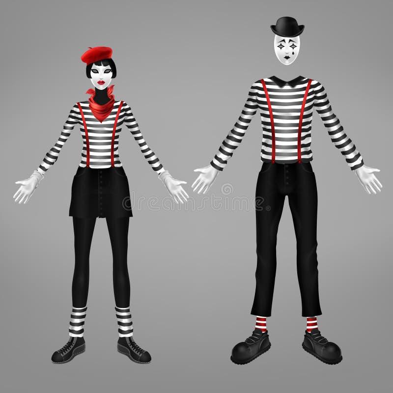 Vecteur réaliste de costume femelle et masculin de pantomime illustration stock