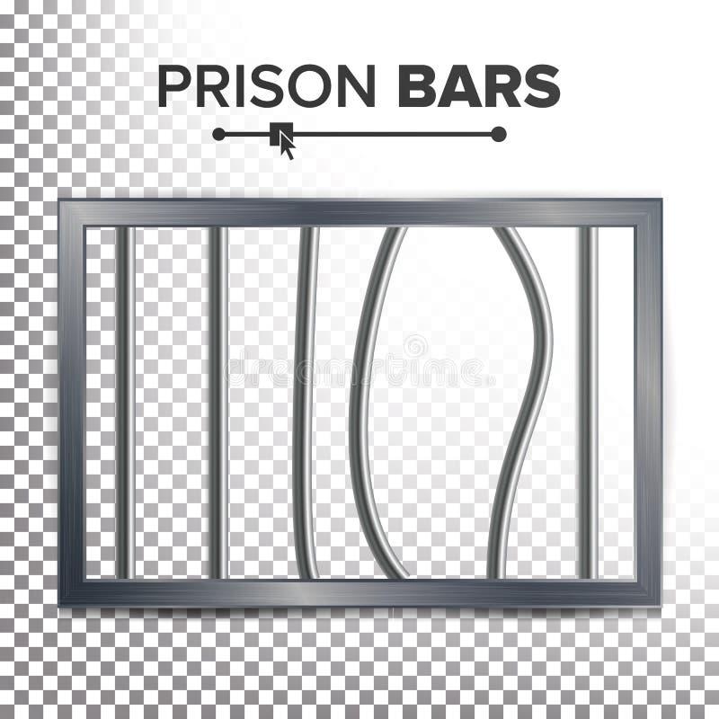 Vecteur réaliste de fenêtre de prison Barres cassées de prison Concept de coupure de prison Prison-rupture de l'illustration Sort illustration libre de droits