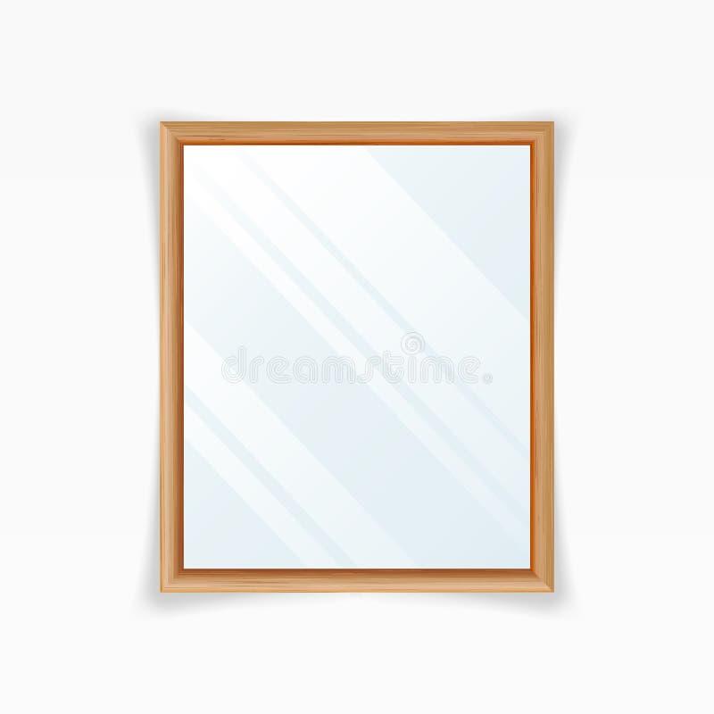 Vecteur réaliste de miroirs Miroir de décoration avec la réflexion Décoration intérieure Trame en bois illustration libre de droits