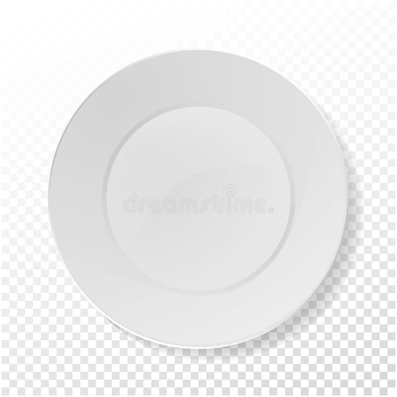 Vecteur réaliste de plaque Moquerie de porcelaine de plan rapproché vers le haut de vaisselle sur le fond de transparent Nettoyez illustration libre de droits
