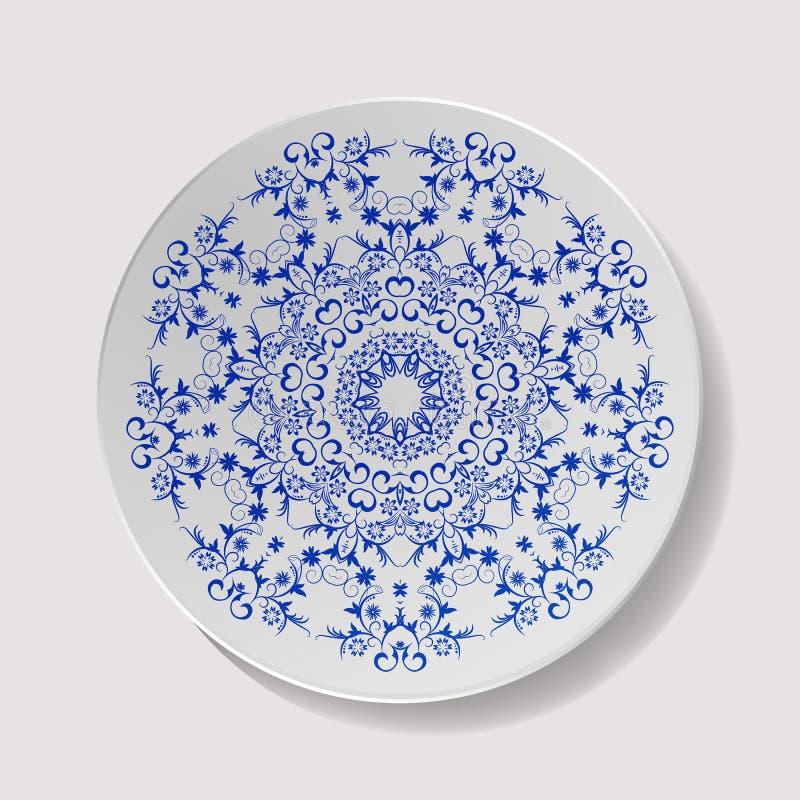Vecteur réaliste de plaque Vaisselle de porcelaine de plan rapproché d'isolement Vue supérieure de plat en céramique de cuisine C illustration libre de droits