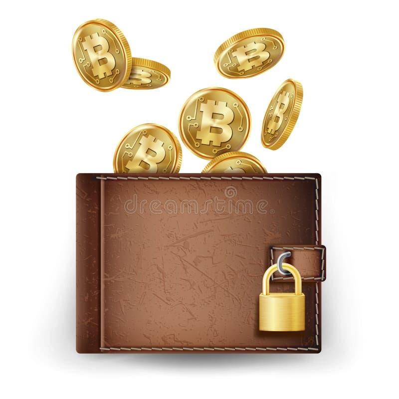 Vecteur réaliste de portefeuille de Bitcoin brun Icônes de pièce de monnaie de finances de cryptographie Devise de Digital Verrou illustration stock