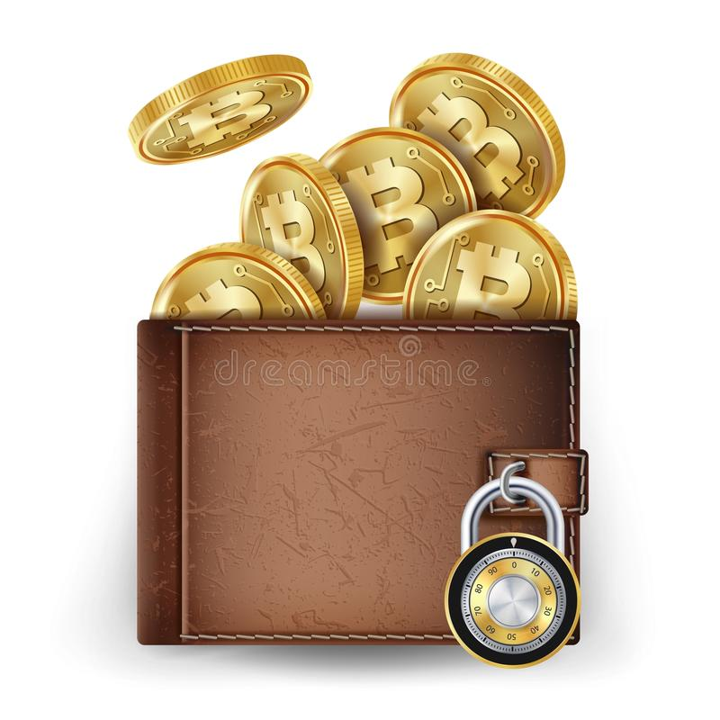 Vecteur réaliste de portefeuille de Bitcoin Verrouillé avec le cadenas Argent Vue supérieure Concept sûr de finances Concept d'in illustration stock