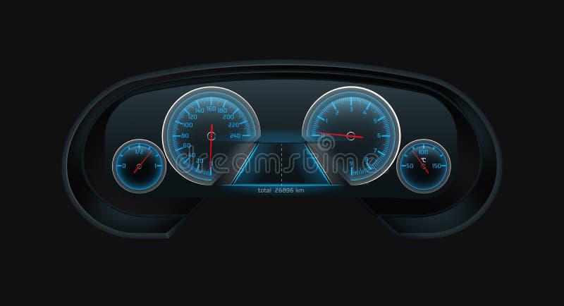 Vecteur réaliste de tableau de bord numérique moderne de voiture illustration de vecteur