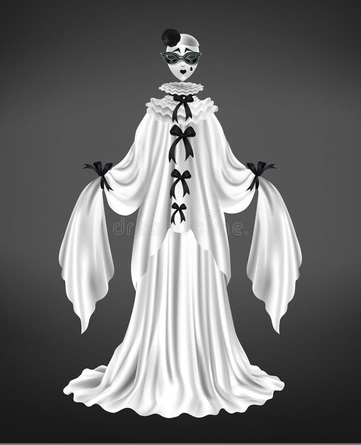 Vecteur réaliste femelle du costume 3d de caractère de pierrot illustration libre de droits