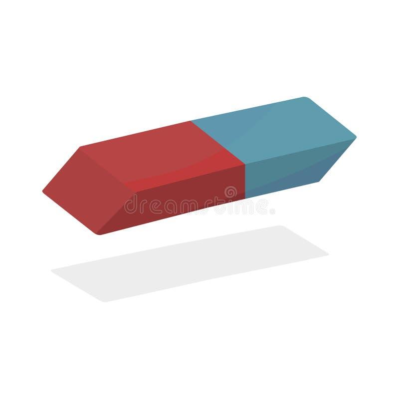 Vecteur réaliste orange bleu de gomme en caoutchouc gomme pour un crayon réaliste sur un fond blanc illustration libre de droits