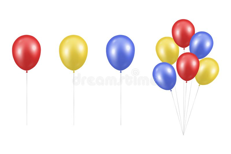 Vecteur Réaliste Rouge Métallique brillant, jaune, bleu Bleu Bleu Blindé Closeup Isolé sur fond blanc Bunch, Groupe illustration stock
