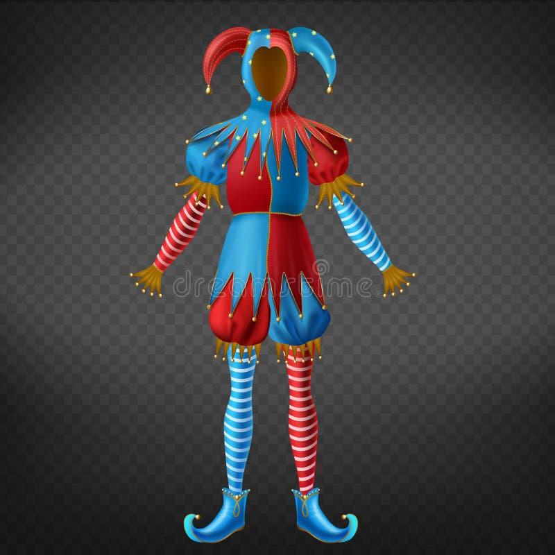 Vecteur réaliste vide du costume 3d d'habit bariolé de joker illustration stock