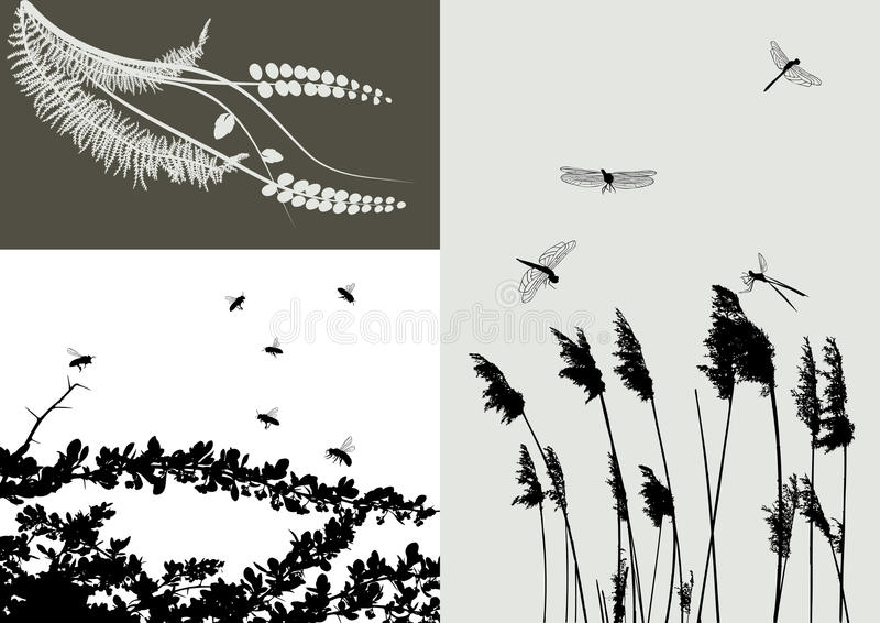 vecteur réel de silhouette de positionnement d'herbe illustration stock