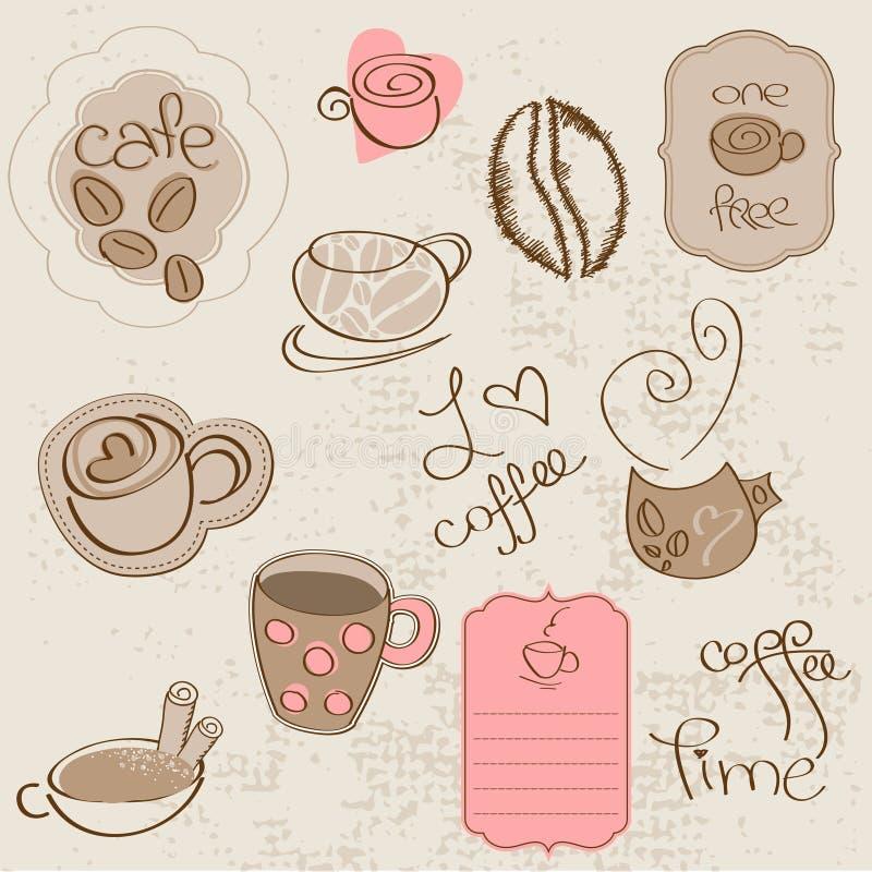 Vecteur réglé : Éléments de conception de café illustration stock