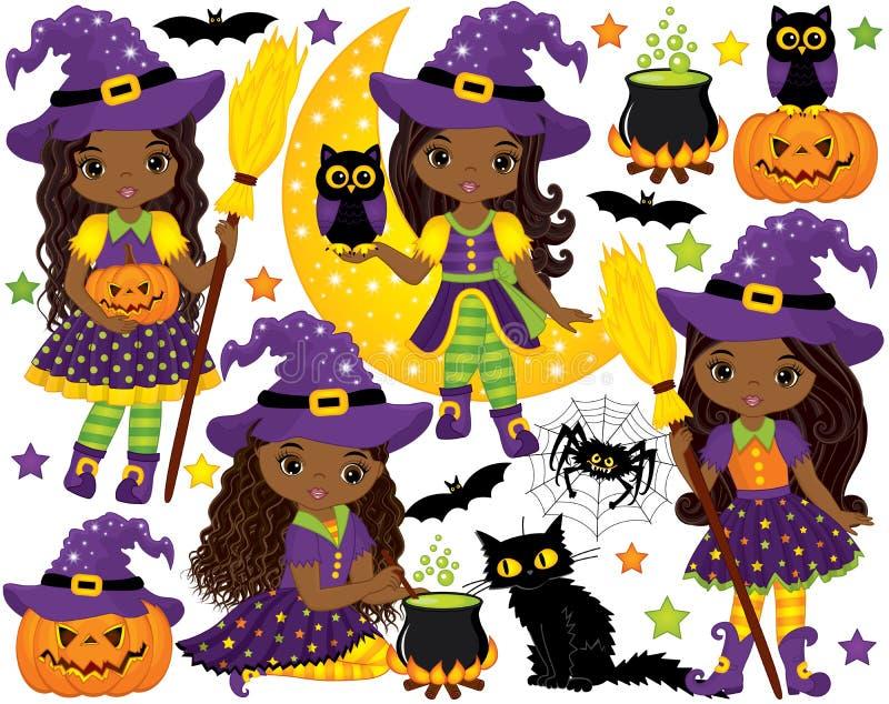 Vecteur réglé avec de petits sorcières d'Afro-américain et éléments mignons de Halloween illustration stock