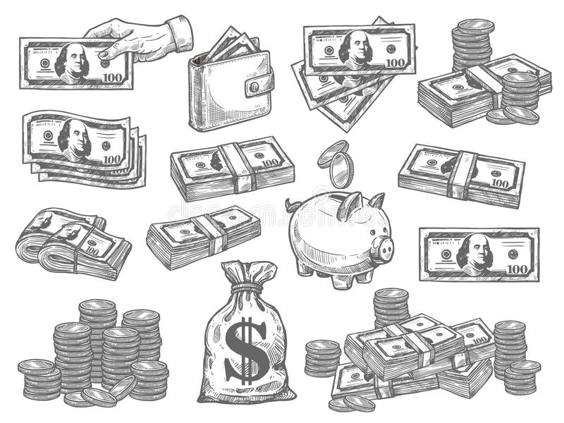 Vecteur réglé avec l'argent illustration libre de droits