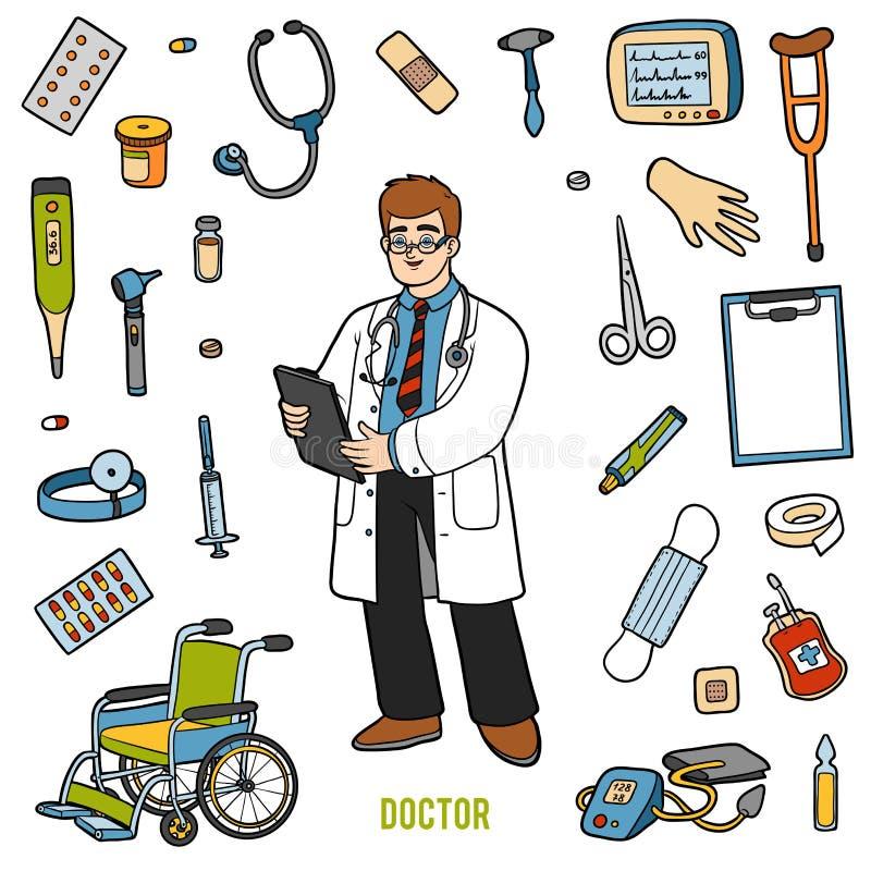 Vecteur réglé avec le docteur et les objets médicaux Articles colorés illustration de vecteur