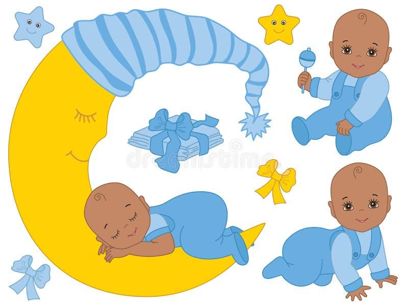 Vecteur réglé avec les bébés garçon mignons d'Afro-américain, la lune et des couches-culottes illustration de vecteur