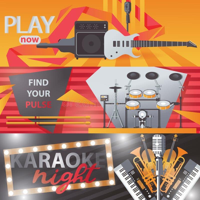 Vecteur réglé avec les bannières horizontales lumineuses au sujet du bruit chanteur et vivant, karaoke et musique de jouer illustration de vecteur