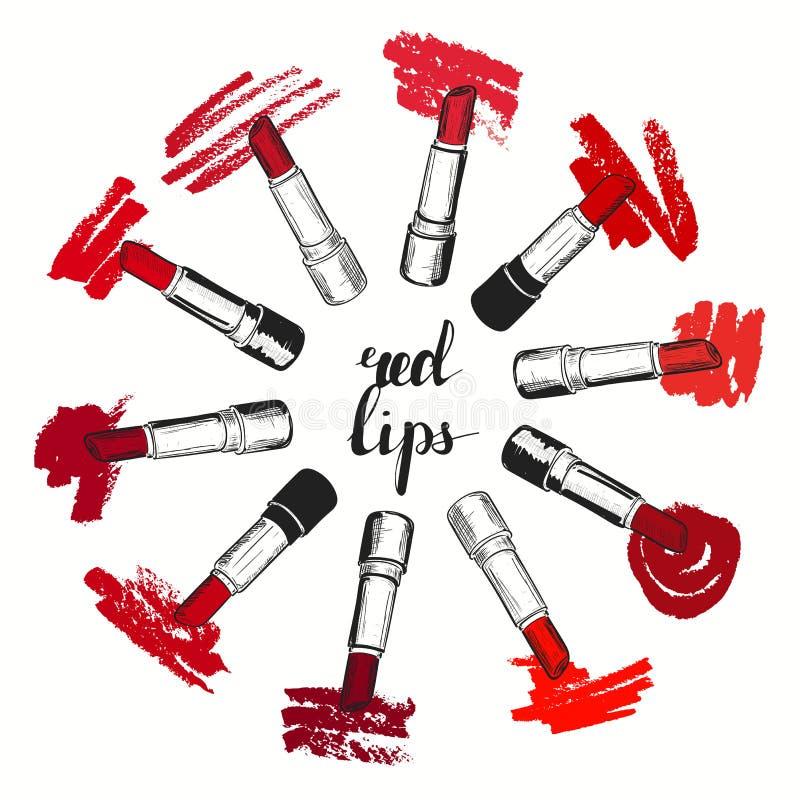 Vecteur réglé avec les nuances rouges à la mode du rouge à lèvres sur le fond blanc Illustration ronde dans le style grunge de cr illustration stock