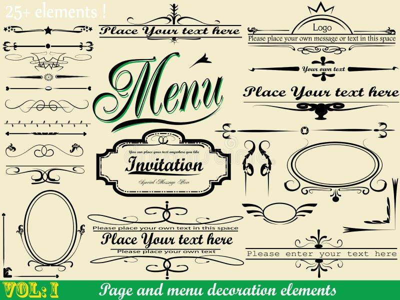 Vecteur réglé : Calligraphie vol. de page : 1 illustration de vecteur