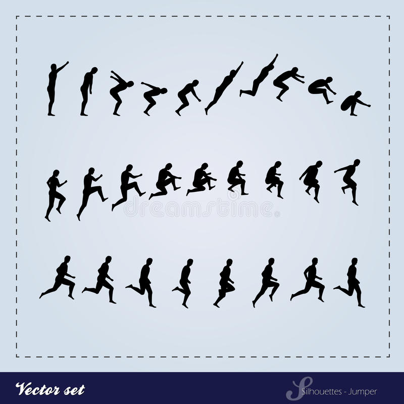 Vecteur réglé - cavalier de silhouette illustration libre de droits
