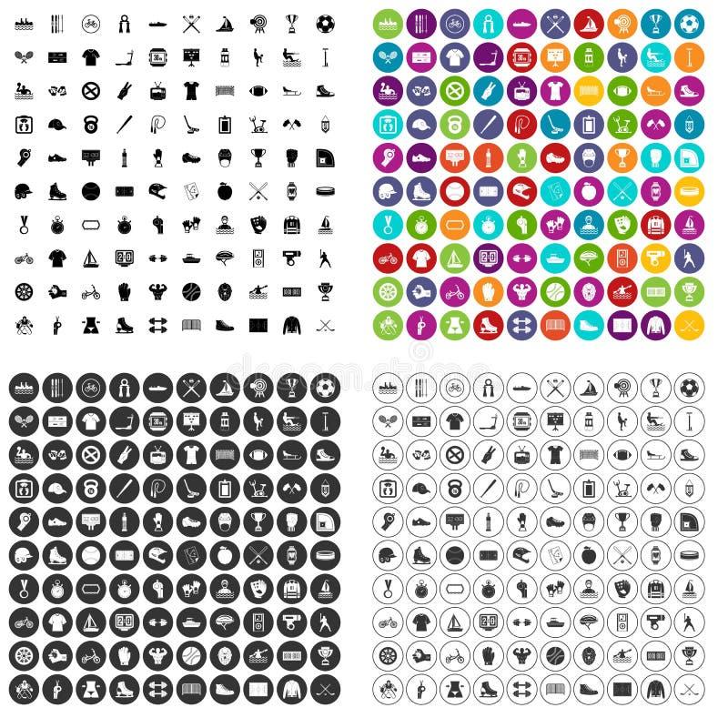 100 vecteur réglé d'équipe de sport par icônes variable illustration de vecteur