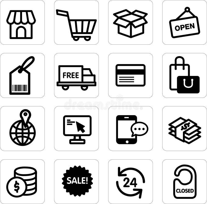 Vecteur réglé d'achats d'icône