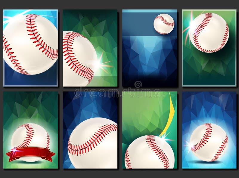 Vecteur réglé d'affiche de base-ball Calibre vide pour la conception promotion base Bille de base-ball Tournoi moderne Jeu de spo illustration de vecteur