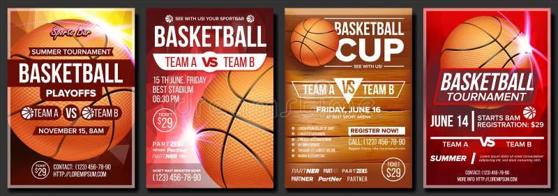 Vecteur réglé d'affiche de basket-ball Conception pour la promotion de barre de sports blanc d'isolement par basket-ball de bille illustration stock