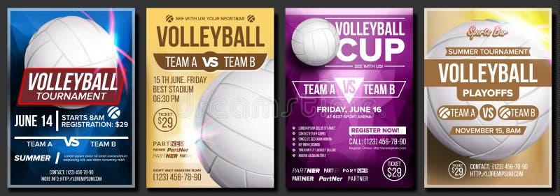 Vecteur réglé d'affiche de volleyball Conception pour le café, bar, promotion de barre de sport Boule de volleyball Tournoi moder illustration de vecteur