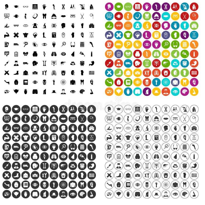 100 vecteur réglé d'anatomie par icônes variable illustration stock