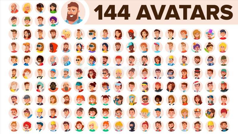 Vecteur réglé d'avatar de personnes Homme, femme Émotions humaines Mâle anonyme, femelle Texte d'attente d'icône Person Shilouett illustration de vecteur