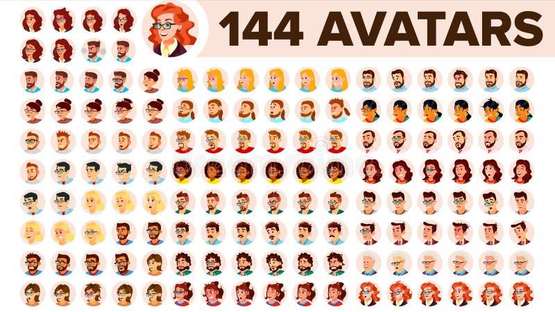 Vecteur réglé d'avatar de personnes Homme, femme Texte d'attente de défaut Membre coloré Personne d'utilisateur Photo expressive  illustration de vecteur