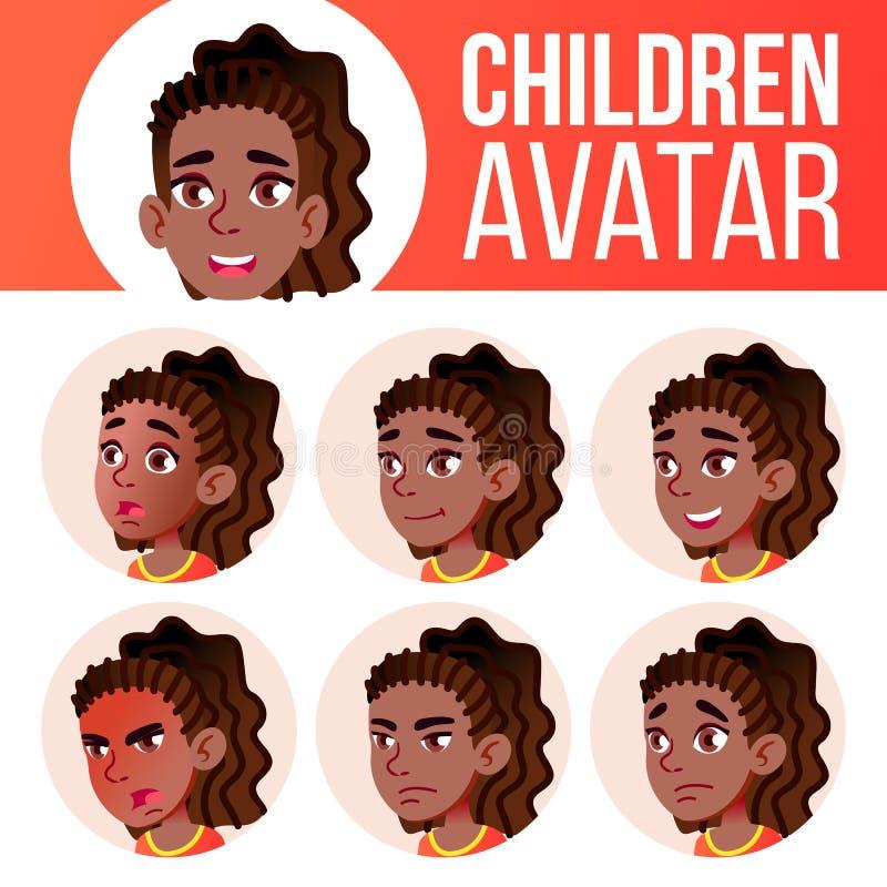 Vecteur réglé d'enfant d'avatar de fille noir Afro-américain Lycée Faites face aux émotions Massage facial, les gens Active, joie illustration stock