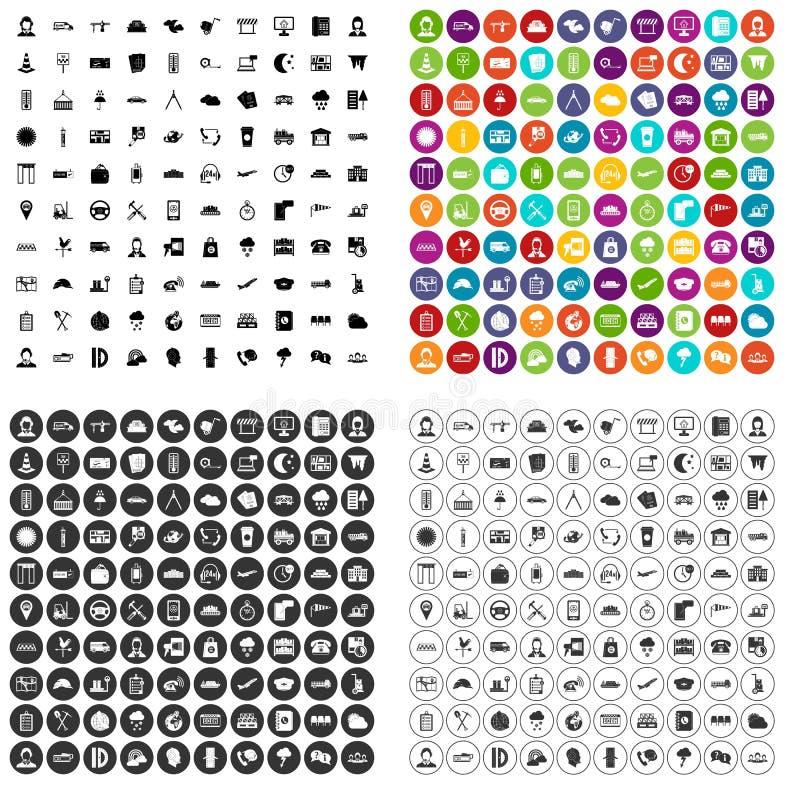 100 vecteur réglé d'expéditeur par icônes variable illustration stock