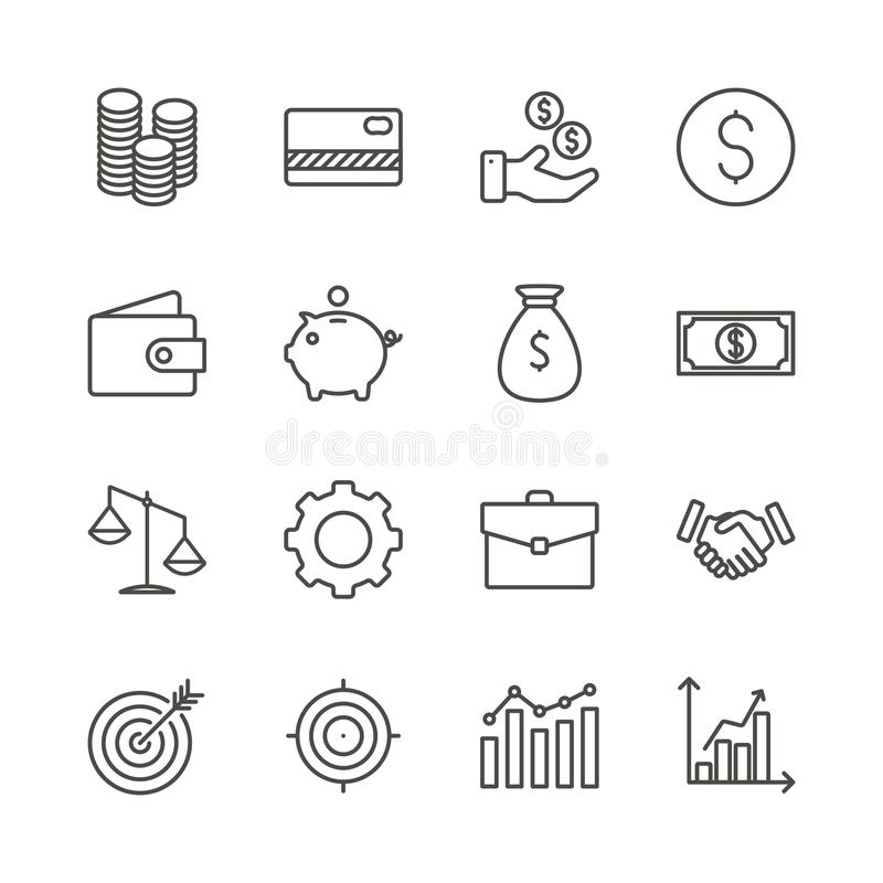 Vecteur réglé d'icône d'argent Collection de finances d'ensemble B plat à la mode illustration stock