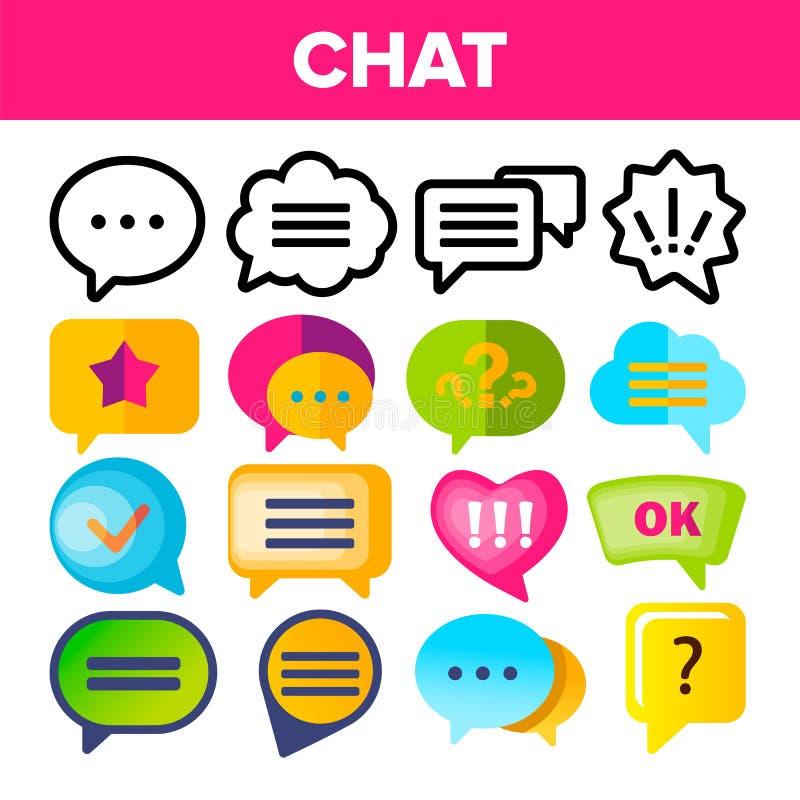 Vecteur réglé d'icône de bulle de la parole La parole de conversation de dialogue de causerie bouillonne des icônes Pictogramme d illustration de vecteur