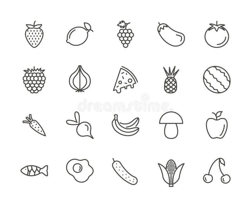 Vecteur réglé d'icône de fruit Collection de nourriture fraîche d'ensemble Thi à la mode illustration libre de droits