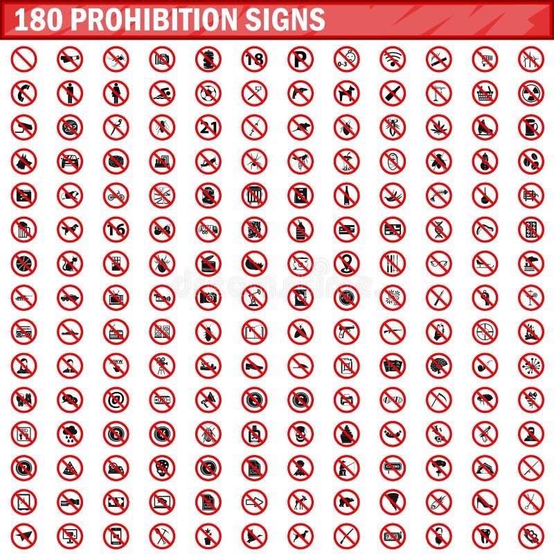 180 vecteur réglé d'interdiction par signes illustration de vecteur