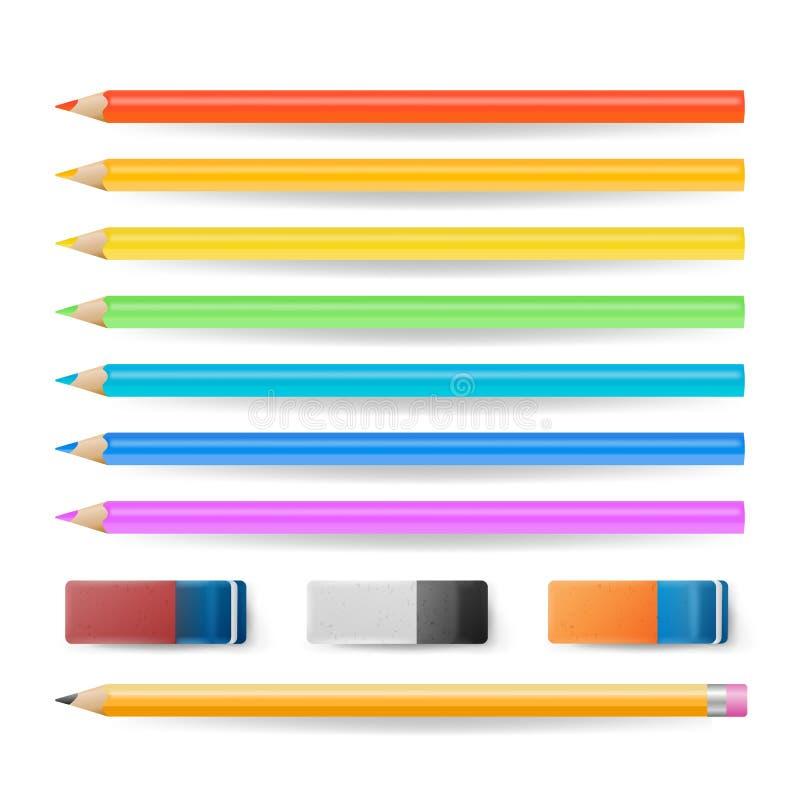 Vecteur réglé d'isolement par crayons coloré Outils réalistes de gomme et d'école illustration stock