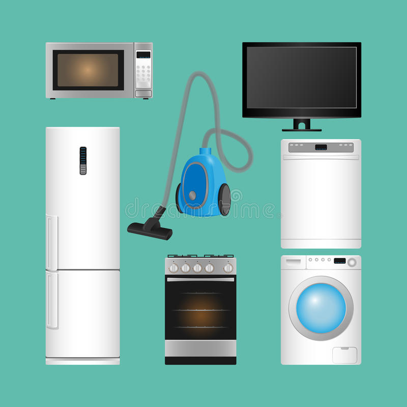 vecteur réglé d'isolement par illustration de ménage d'appareils Dispositifs modernes de cuisine illustration libre de droits