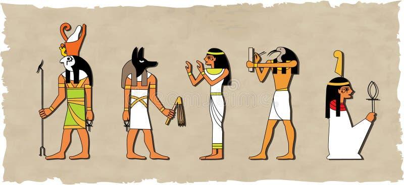 vecteur réglé d'un dieu égyptien illustration de vecteur