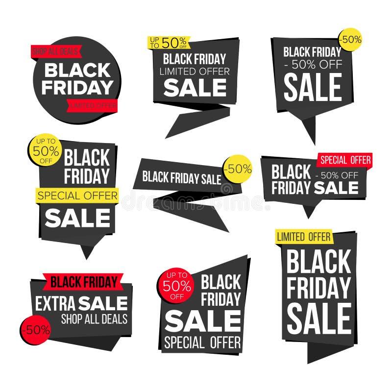 Vecteur réglé de bannière de vente de Black Friday Autocollants de site Web, conception noire de page Web Jusqu'à 50 pour cent ou illustration de vecteur