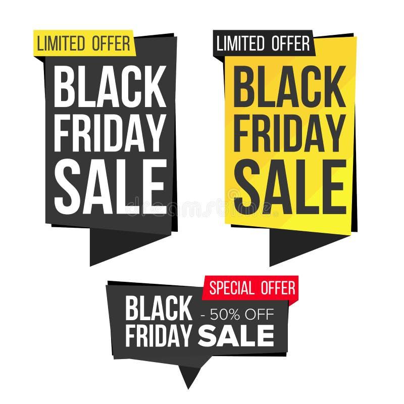 Vecteur réglé de bannière de vente de Black Friday Bannières de remise Étiquette de bannière de vente de vendredi Labels noirs de illustration de vecteur