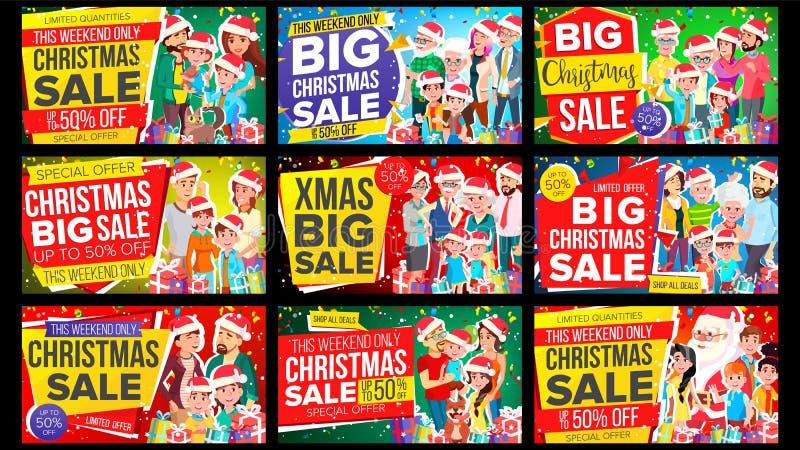 Vecteur réglé de bannière de vente de Noël Remise jusqu'à 50  Grand vecteur de bannière de Noël Fond Offre spéciale, label illustration libre de droits