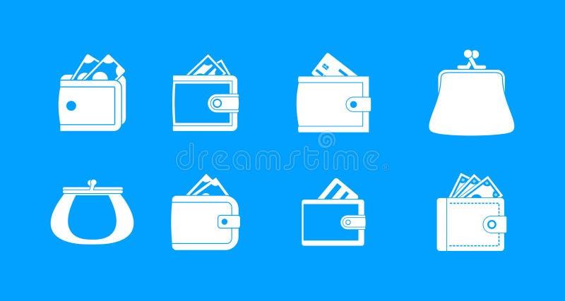 Vecteur réglé de bleu d'icône de portefeuille illustration stock