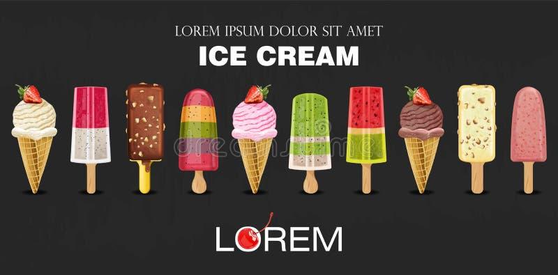 Vecteur réglé de collection de crème glacée réaliste Fruits exotiques d'été et saveurs de baie Emballage de produit Dessert de me illustration stock