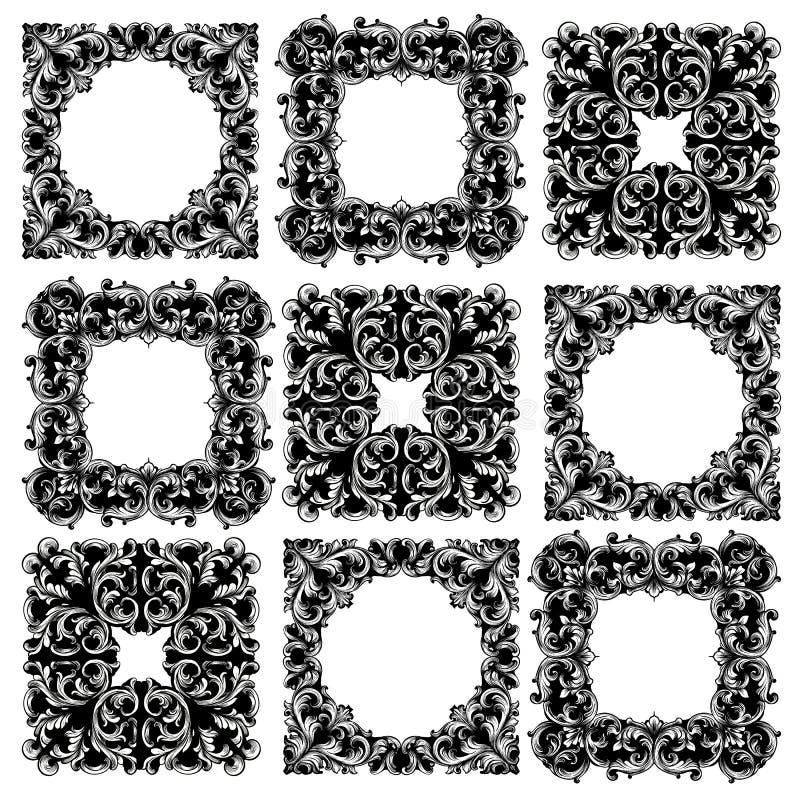 Vecteur réglé de collection de vue Les riches classiques ont ornementé les décors découpés Conceptions sophistiquées baroques illustration de vecteur