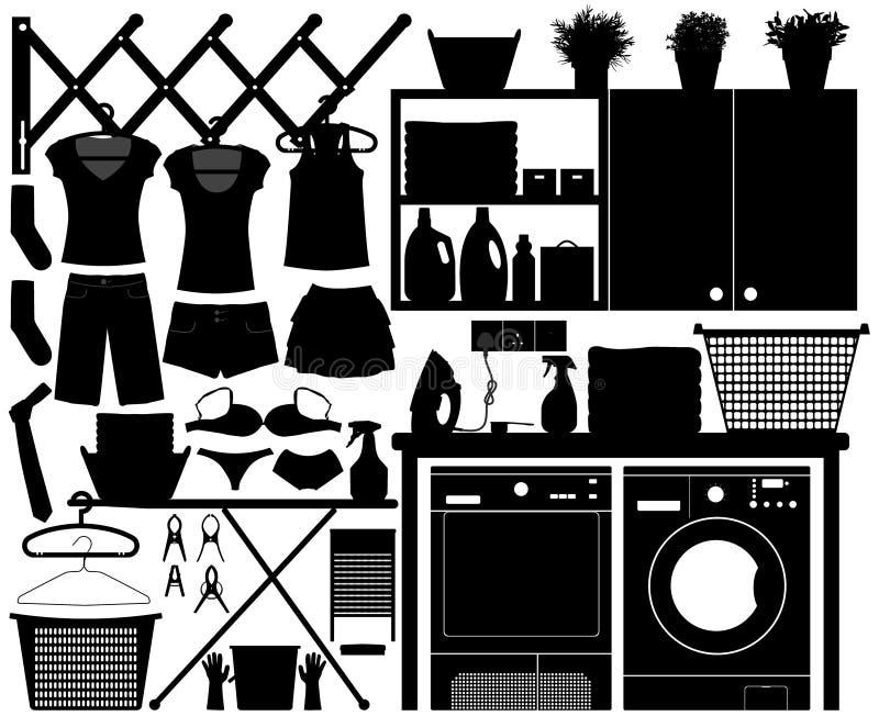 Vecteur réglé de conception de blanchisserie illustration stock
